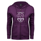 ENZA Ladies Purple Fleece Full Zip Hoodie-Soccer Design