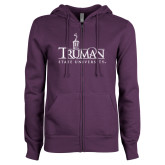 ENZA Ladies Purple Fleece Full Zip Hoodie-Truman University Mark