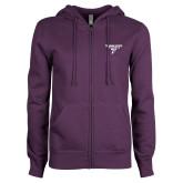 ENZA Ladies Purple Fleece Full Zip Hoodie-Bulldog T
