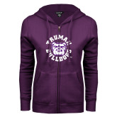 ENZA Ladies Purple Fleece Full Zip Hoodie-Secondary Mark