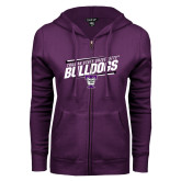 ENZA Ladies Purple Fleece Full Zip Hoodie-Slanted Design
