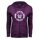 ENZA Ladies Purple Fleece Full Zip Hoodie-Truman Bulldogs Circle