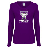 Ladies Purple Long Sleeve V Neck Tee-Primary Mark