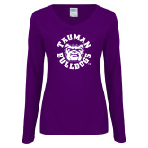 Ladies Purple Long Sleeve V Neck T Shirt-Secondary Mark