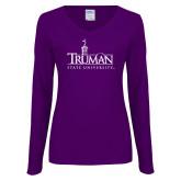 Ladies Purple Long Sleeve V Neck Tee-Truman University Mark