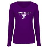 Ladies Purple Long Sleeve V Neck Tee-Bulldog T