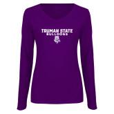 Ladies Purple Long Sleeve V Neck Tee-Bulldog