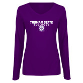 Ladies Purple Long Sleeve V Neck Tee-Bulldog Head