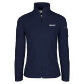Columbia Ladies Full Zip Navy Fleece Jacket-Bulldogs Wordmark