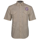 Khaki Short Sleeve Performance Fishing Shirt-Secondary Mark