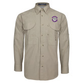 Khaki Long Sleeve Performance Fishing Shirt-Secondary Mark