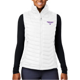 Columbia Powder Lite  Ladies White Vest-Bulldog Head