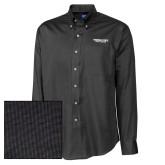 Cutter & Buck Black Nailshead Long Sleeve Shirt-Bulldogs Wordmark