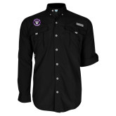 Columbia Bahama II Black Long Sleeve Shirt-Truman Bulldogs Circle