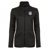 Black Heather Ladies Fleece Jacket-Secondary Mark