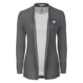 Ladies Heather Grey Open Front Cardigan-Secondary Mark