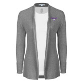 Ladies Heather Grey Open Front Cardigan-Bulldog Head