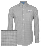 Mens Charcoal Plaid Pattern Long Sleeve Shirt-Bulldog Head