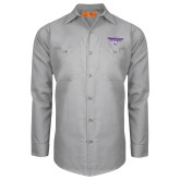Red Kap Light Grey Long Sleeve Industrial Work Shirt-Bulldog Head