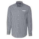 Cutter & Buck Charcoal Stretch Gingham Long Sleeve Shirt-Bulldogs Wordmark