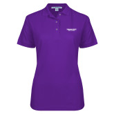 Ladies Easycare Purple Pique Polo-Bulldogs Wordmark