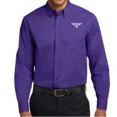 Purple Twill Button Down Long Sleeve-Bulldog Head