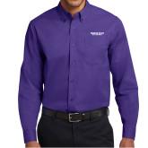 Purple Twill Button Down Long Sleeve-Bulldogs Wordmark