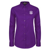 Ladies Purple Twill Button Down Long Sleeve-Secondary Mark