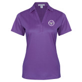 Ladies Purple Performance Fine Jacquard Polo-Truman Bulldogs Circle