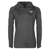 Ladies Sport Wick Stretch Full Zip Charcoal Jacket-Bulldog Head