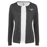 Ladies Charcoal Cardigan-Bulldog Head