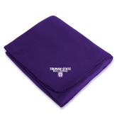 Purple Arctic Fleece Blanket-Bulldog Head