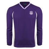 Colorblock V Neck Purple/White Raglan Windshirt-Secondary Mark