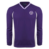 Colorblock V Neck Purple/White Raglan Windshirt-Truman Bulldogs Circle
