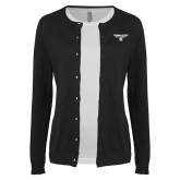 Ladies Black Cardigan-Bulldog Head