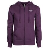 ENZA Ladies Purple Fleece Full Zip Hoodie-Bulldog Head
