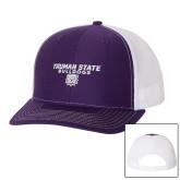 Richardson Purple/White Trucker Hat-Bulldog Head