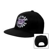 Black Flat Bill Snapback Hat-Secondary Mark