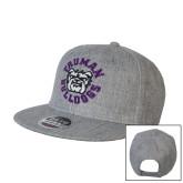 Heather Grey Wool Blend Flat Bill Snapback Hat-Secondary Mark