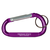 Purple Carabiner with Split Ring-Bulldogs Wordmark Engraved