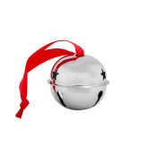 Silver Jingle Bell Ornament-Bulldogs Wordmark Engraved