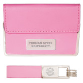 Business Card Case and Key Ring Set Pink-Wordmark Engraved