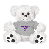 Plush Big Paw 8 1/2 inch White Bear w/Grey Shirt-Bulldog T