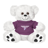 Plush Big Paw 8 1/2 inch White Bear w/Purple Shirt-Bulldog T