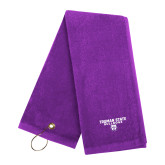Purple Golf Towel-Bulldog Head