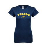 Next Level Ladies SoftStyle Junior Fitted Navy Tee-Arched Toledo w/ Rocket