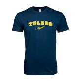Next Level SoftStyle Navy T Shirt-Arched Toledo w/ Rocket