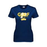 Ladies Navy T Shirt-Stacked Golf Design