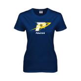Ladies Navy T Shirt-Rocket