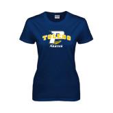 Ladies Navy T Shirt-Arched Toledo w/ Rocket